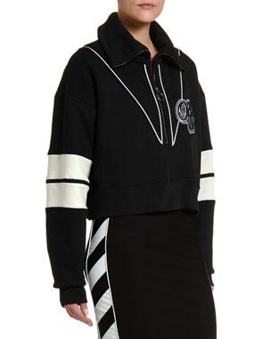 Off-White Half-Zip Logo-Intarsia Varsity Sweatshirt