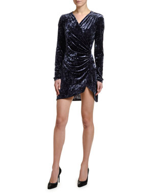 Off-White Stretch Velvet Faux-Wrap Mini Dress