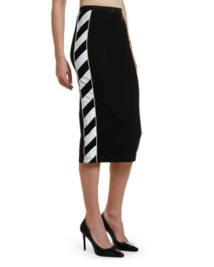 Off-White Diagonal-Striped Athletic Midi Skirt