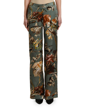 Off-White Floral Pajama Pants