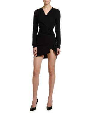 Off-White Long-Sleeve Faux-Wrap Mini Dress