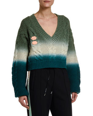 Off-White Wool-Cashmere Tie-Dye V-Neck Sweater