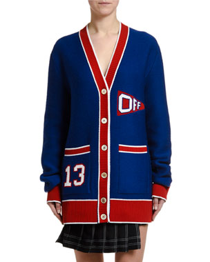 Off-White V-Neck Flag Cardigan