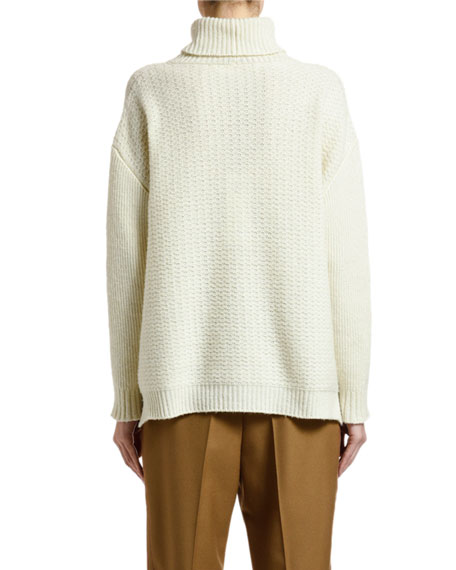 Wool-Cashmere Turtleneck Textured Sweater
