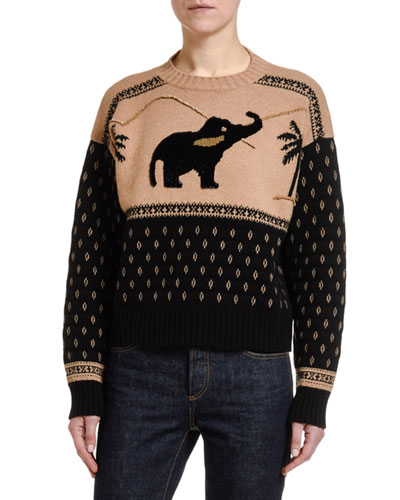 Wool-Cashmere Hand-Sequined Elephant Sweater