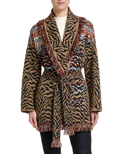 c22eed0dad Promotion Leopard   Fair Isle Wool-Cashmere Wrap Cardigan