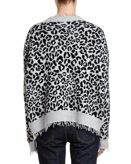 Leopard Pattern Cotton-Silk Sweater