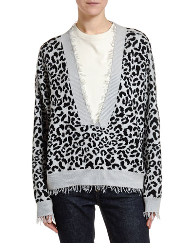 Leopard Pattern Cotton-Silk Sweater
