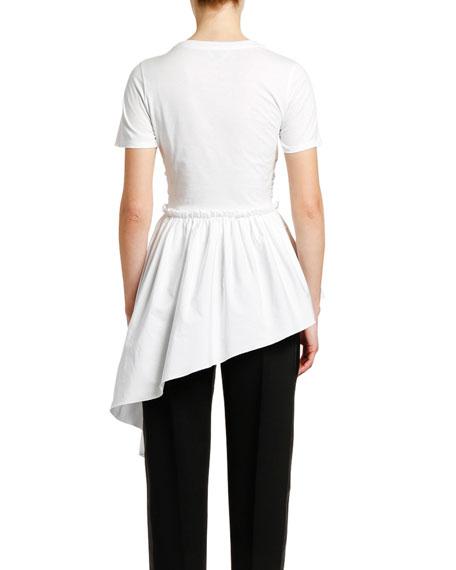 Ruffled Front Draped Cotton Jersey T-shirt