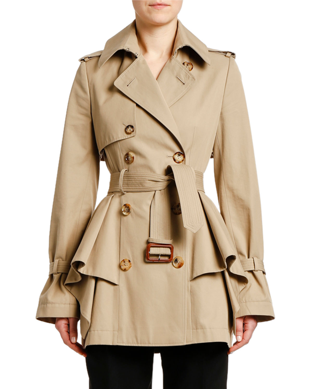 shop for authentic uk availability no sale tax Peplum-Waist Gabardine Short Trench Coat