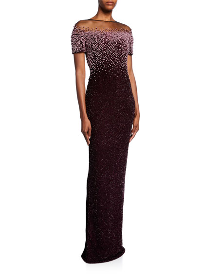Pearl-Embroidered Shimmer Column Gown