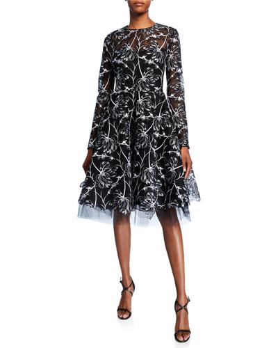 Floral Lace Mock-Neck Dress