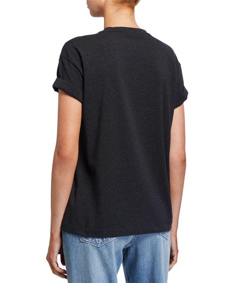 Cotton Micro Sequin-Striped T-Shirt