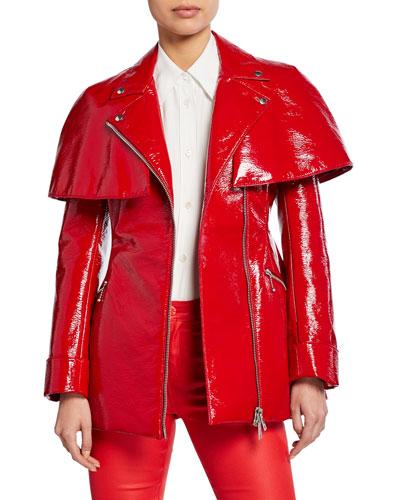 Shiny Faux-Leather Caped Moto Jacket