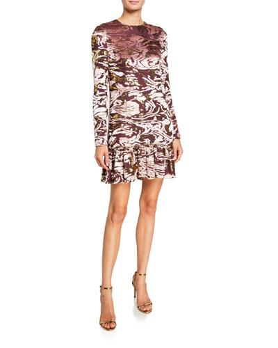 Burnout Velvet Mock-Neck Cocktail Dress