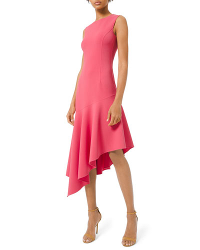 b5a6bcc647f475 Crewneck Crepe Asymmetric Dress Quick Look. Michael Kors Collection