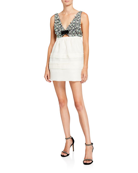 Sequined Floral-Bodice Mini Dress