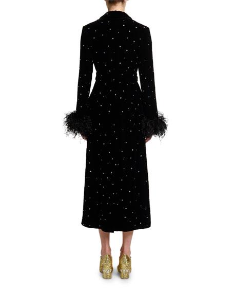 Feather-Cuff Crystal Velvet Robe