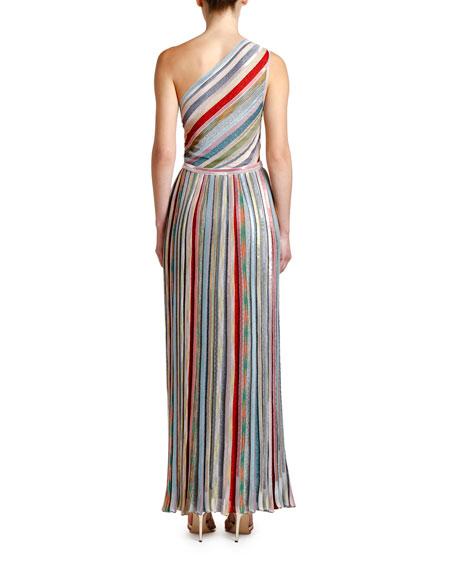 One-Shoulder Metallic Striped Maxi Dress
