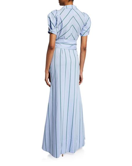 Striped Puff-Sleeve Wrap Dress