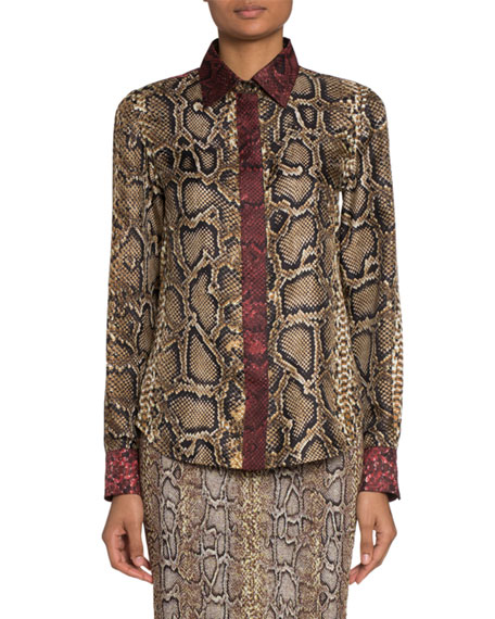 Python-Print Long-Sleeve Collared Blouse