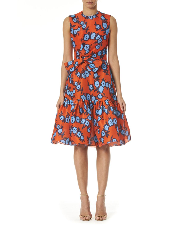 Floral Print Bowed Waist Silk Dress by Carolina Herrera