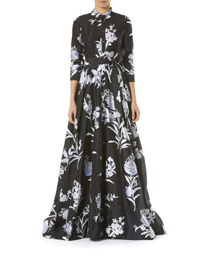 Floral-Print Taffeta Trench Gown