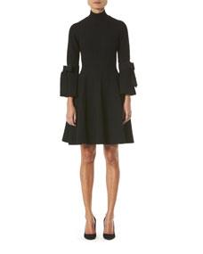 Turtleneck Bell Sleeve Knit Dress by Carolina Herrera