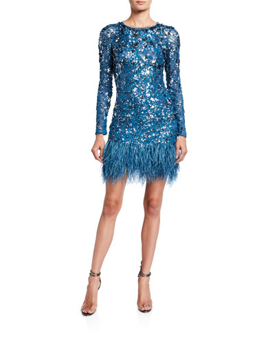 Sequin-Embroidered Feather-Hem Cocktail Dress