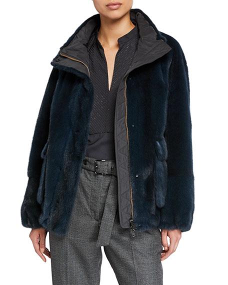 Reversible Mink Fur Taffeta Jacket