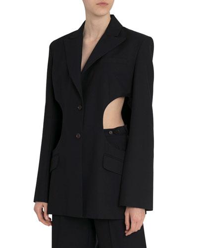 Cutout-Waist Blazer Jacket