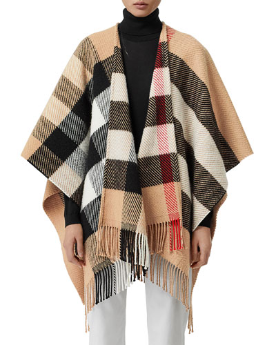 Mega Check Fringe Cape