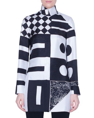 Kaleidoscopic-Print Silk Funnel-Neck Tunic