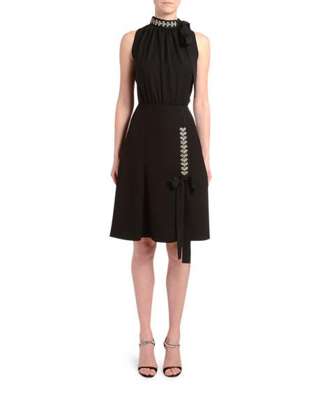 Ramage-Edge Sleeveless Tie-Waist Dress