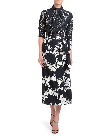 3/4-Sleeve Floral Shadow Twill Dress