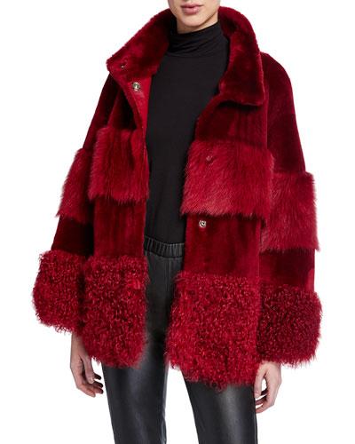 Patchwork Textured Shearling Fur Coat