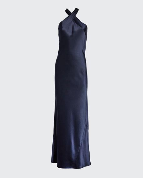 Satin Crisscross Halter Gown