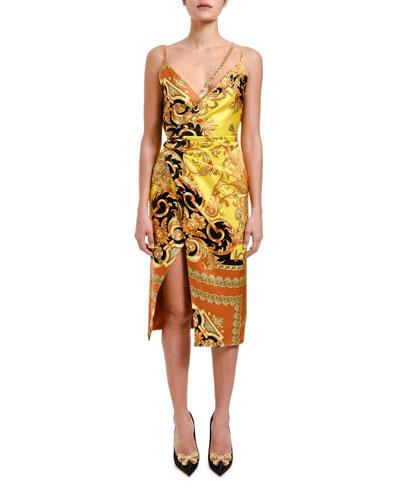 Greca Chain Trim Silk Cocktail Dress