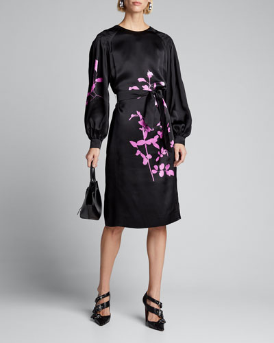 Floral-Print Taffeta Balloon-Sleeve Dress