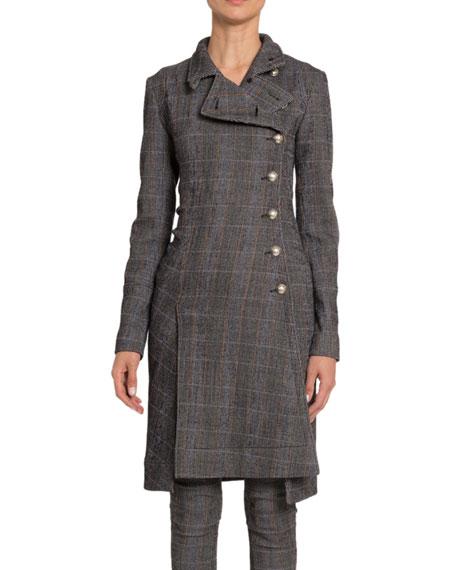 Plaid Wool High-Neck Military Coat