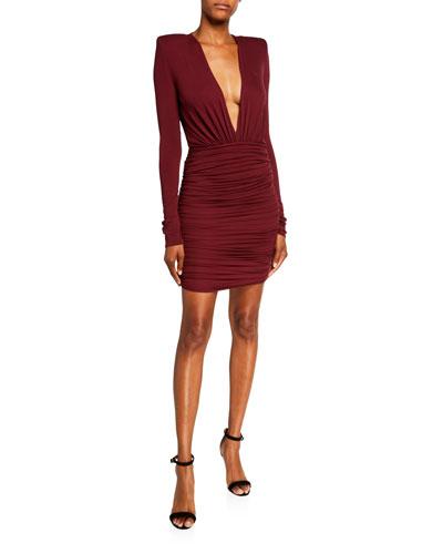Draped Jersey Deep V Dress