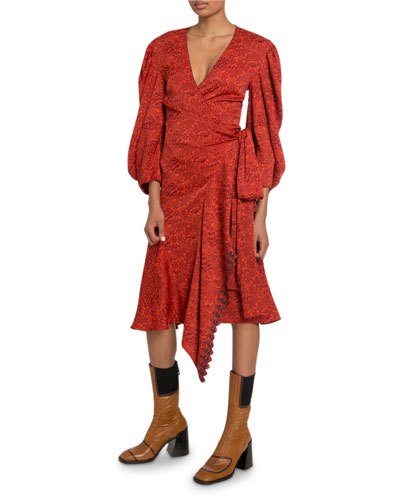 3/4-Sleeve V-Neck Wrap Dress