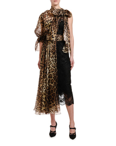 Animal-Print One-Sleeve Organza Draped Dress