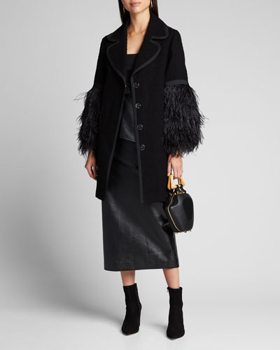 Cotton Tweed Button-Front Coat with Ostrich Feather Sleeves