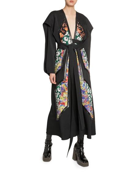 Flower-Print Patchwork Midi Dress