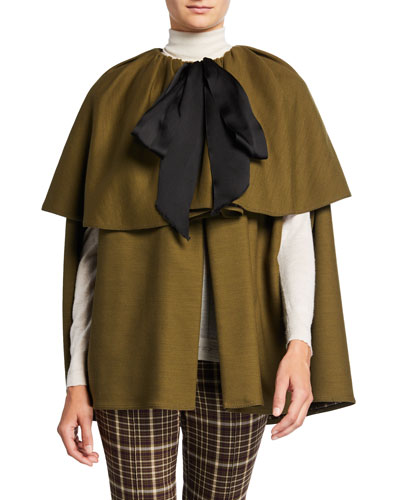 Double-Face Wool Tiered Cape