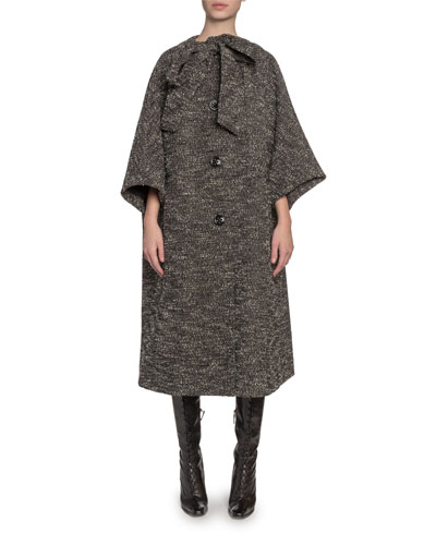 Tweed Tie-Neck Oversized Coat