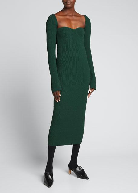 Beth Long-Sleeve Bustier Dress