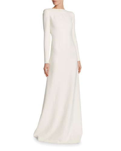 Chain-Trim Long-Sleeve Cady Gown