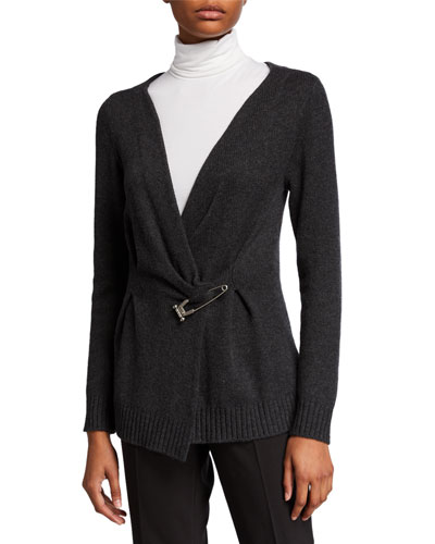 Cashmere Safety-Pinned Cardigan